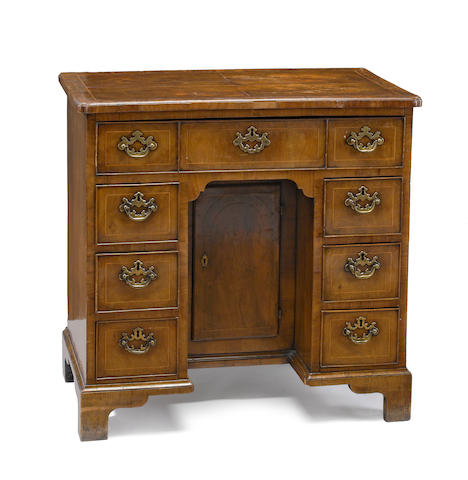 A George I walnut kneehole desk<BR />circa 1725