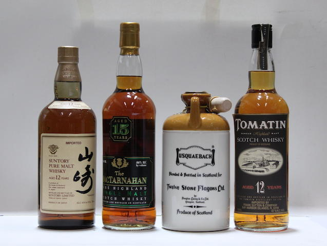 Tomatin-12 year old  Usquaebach  Suntory-12 year old  MacTamahan-15 year old (2)