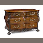 A Louis XV mahogany and walnut chest of drawers<BR />circa 1740