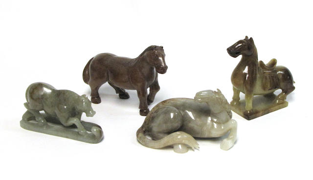 A group of four hardstone horses