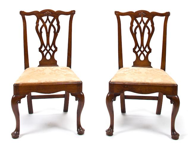 A pair of George II walnut side chairs<br>second quarter 18th century
