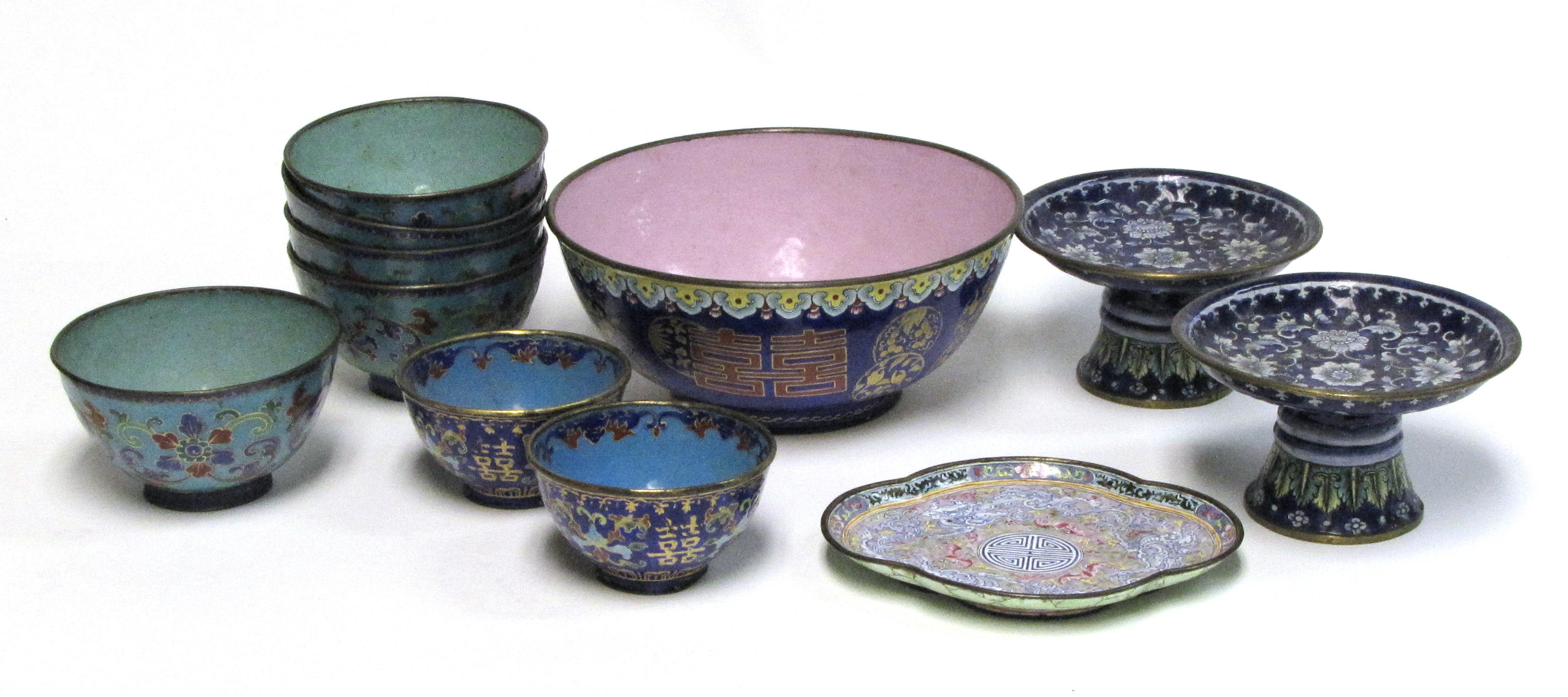 A group of Canton enamel decorations