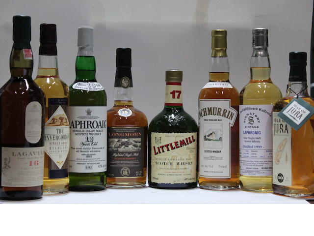 Inchmurin-20 year oldInvergordon-10 year oldIsle of Jura-10 year oldLagavulin-16 year oldLaphroaig-10 year old (3)Laphroaig-7 year old-1999Littlemill-17 year oldLongmorn-15 year old