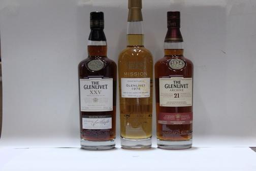 Glenlivet- 21 year old  Glenlivet- 25 year old  Glenlivet- 28 year old