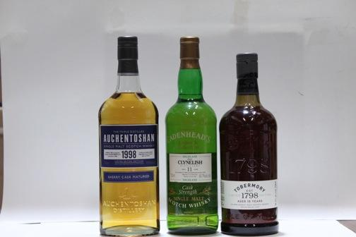 Auchentoshan- 1998  Clynelish- 11 year old-1982  Tobermory- 15 year old