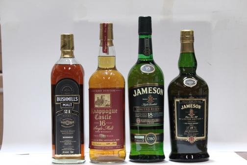 Jameson- 15 year old  Jameson- 18 year old  Knappogue Castle- 16 year old-1994  Bushmills- 21 year old