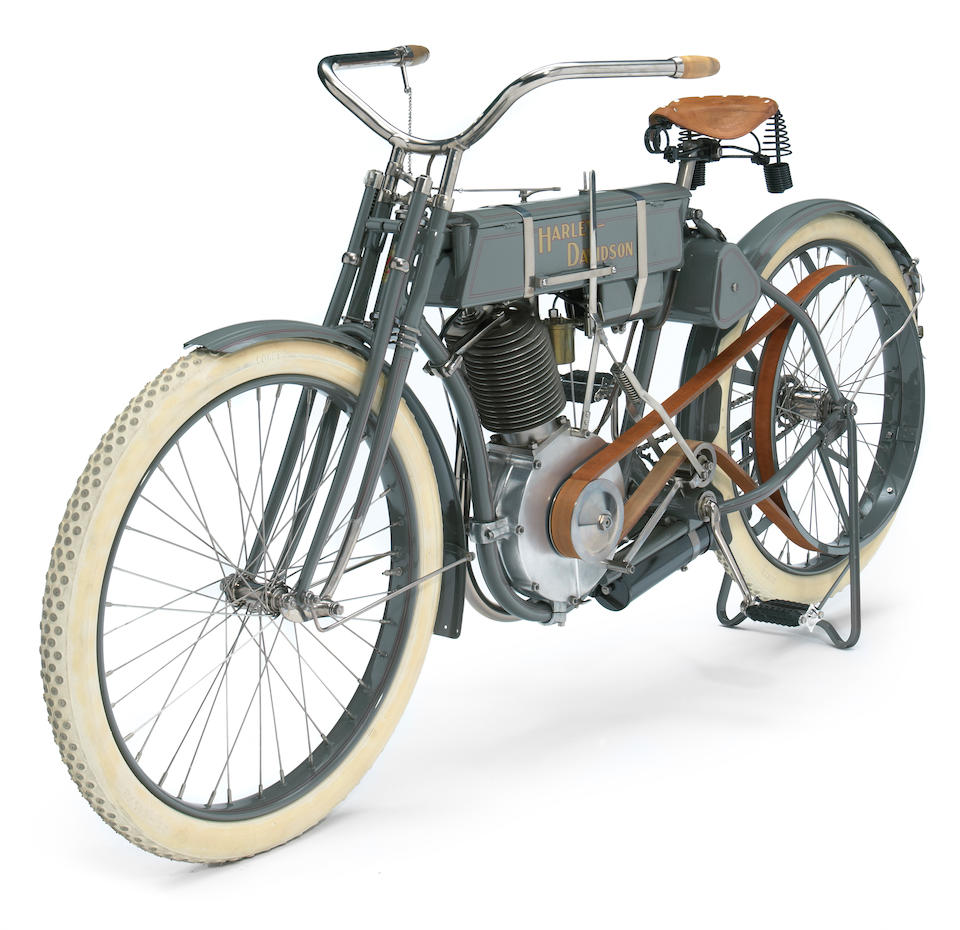 "Exacting recreation built around an original motor,1908 Harley-Davidson 26.8ci Model 4 ""Strap Tank"" Single Recreation  Engine no. 2113"