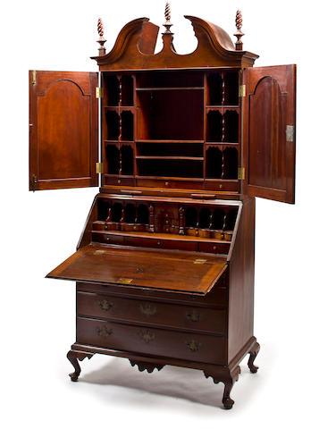 A Queen Anne mahogany secretary bookcase Massachusetts, second quarter 18th century