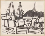 Romare Bearden (American, 1914-1988) Sailboats in a harbor, Musicians (2) first 7 x 9 1/8in; second 8 1/2 x 11in