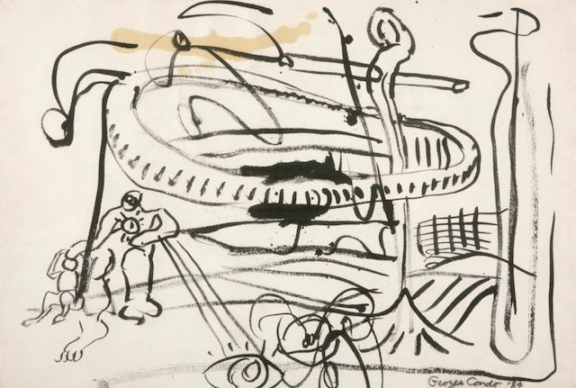 George Condo, 84, 1984 (ink/paper)