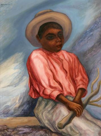 Roberto Berdecio (Bolivian, 1910-1996) Portrait of a young man, 1955 22 x 15 3/4in
