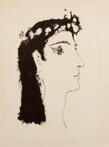 After Pablo Picasso (Spanish, 1881-1973); A une jeune fille qui cueillait des fleurs, pl. 4, from Luis de Góngora y Argote, Vingt Poèmes ;