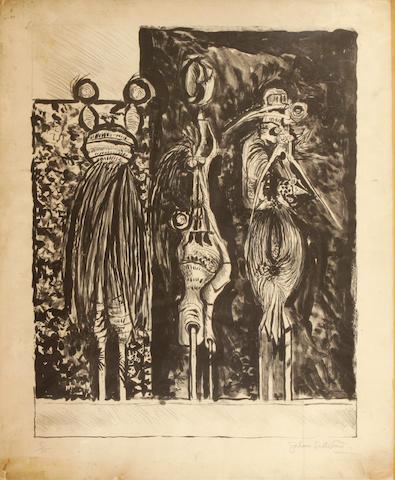 Graham Sutherland O.M. (British, 1903-1980); Three Standing Forms in Black;