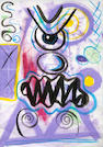 Kenny Scharf, * RESERVE TO BE DETERMINED * Scary modern, acrylic/paper, 1985, 17.5 x 12in