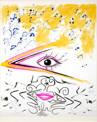 Kenny Scharf, * RESERVE TO BE DETERMINED * Eye lips, 1983, ink and wc/paper, 28.5 x 22.5in