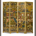 A Continental paint decorated leather four fold floor screen <BR />possibly Dutch, second half 18th century