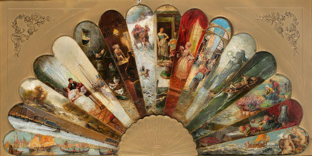 French School, 19th Century A fan-shaped painting 21 x 40 3/4in (53.3 x 103.5cm)