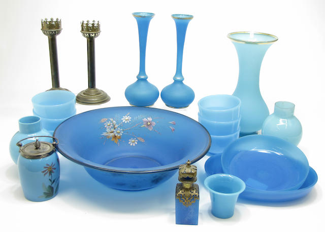 An assembled group opaque blue colored glass late 19th century