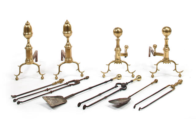 Ten Federal style brass and iron fire tools late 19th/early 20th century