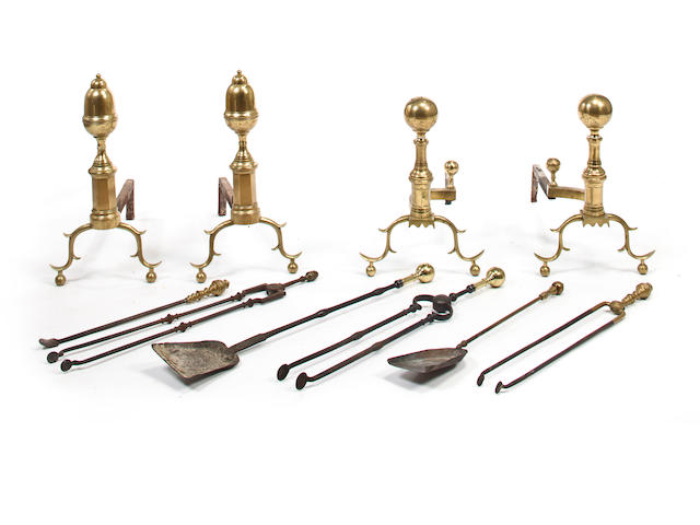 Ten brass and iron fire tools<BR />late 19th/early 20th century