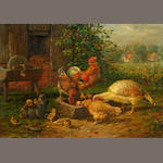 Charles C. Hofmann (German/American, circa 1820-1882) Chickens feeding 5 3/4 x 7 1/4in