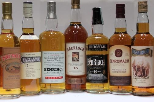 Aberlour- 15 year old  Benriach- 10 year  Benriach- 10 year old  Benromach- 12 year old  Cragganmore- 12 year old  Drumguish  Glenburgie- 15 year old