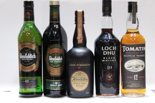 Glenfiddich- 12 year old  Glenfiddich- 15 year old  Knockdhu- 23 year old  Loch Dhu- 10 year old  Tomatin- 12 year old