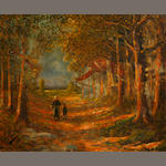 P. Hudry, Figures on a forest path, signed and dated l/l: P. Hudry, 1943, o/c, 13 1/2 x 16 1/2in