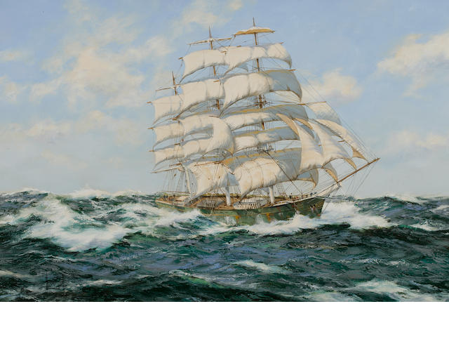 "Henry Scott (British, 1911-2005) ""Pacific Deep"" tea clipper Thermopylae 24 x 36 in. (60.9 x 91.4) cm."