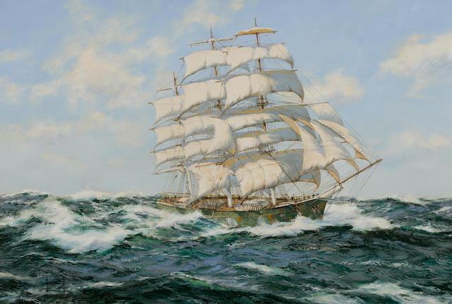 "Henry Scott (British, 1911-2005) ""Pacific Deep"" tea clipper Thermopylae 24 x 36 in. (60.9 x 91.4) cm."