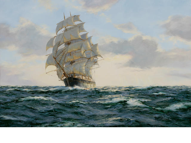 "Henry Scott (British, 1911-2005) ""Evening Clouds"" clipper ship Leander 24 x 36 in. (60.9 x 91.4) cm."