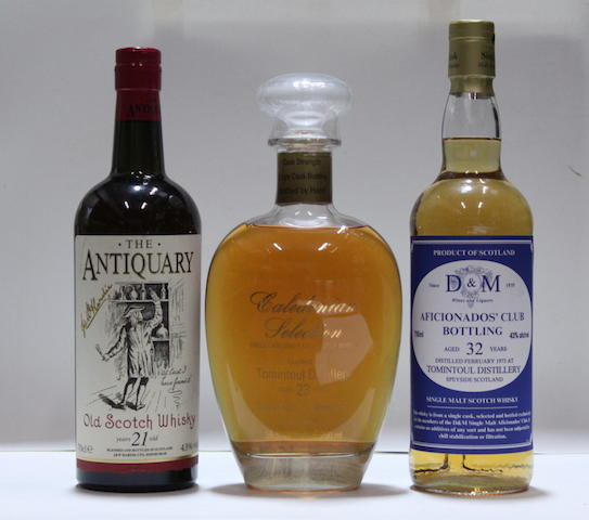 The Antiquary-21 year old  Tomintoul-23 year old  -1976Tomintoul-32 year old  -1973