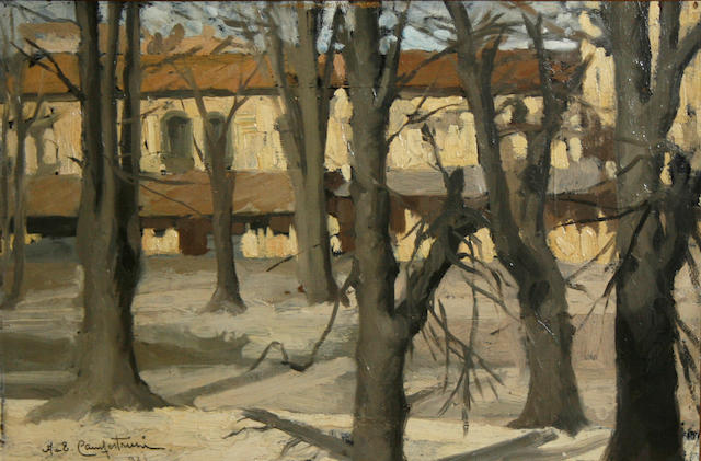 Ernesto Alcide Campestrini (Italian, 1897-1983) Trees in winter; Houses in snow (a pair) 13 x 19in