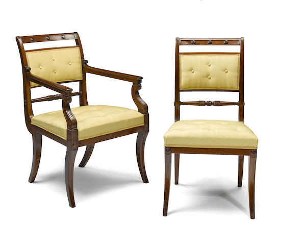 A fine set of eighteen Regency mahogany dining chairs first quarter 19th century