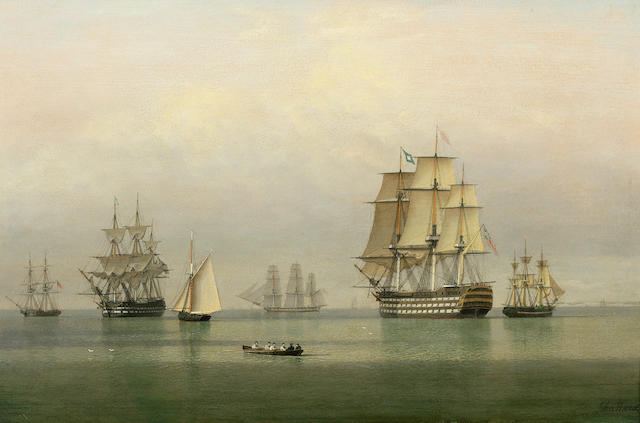John Ward of Hull (British, 1798-1849) Warships on a calm sea 14-1/2 x 22-1/4 in. (36.8 x 56.5 cm.)