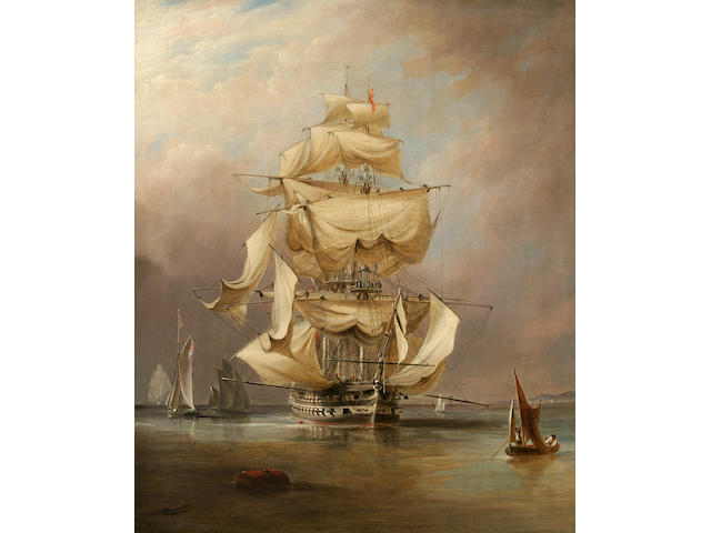 Richard Brydges Beechey (British, 1808-1895) H.M.S. Asia taking in her sails 30 x 25-1/4 in. (76.2 x 64.1 cm.)