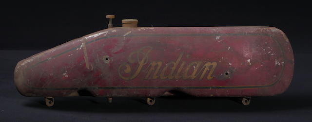 One side of an original Indian motorcycle tank,
