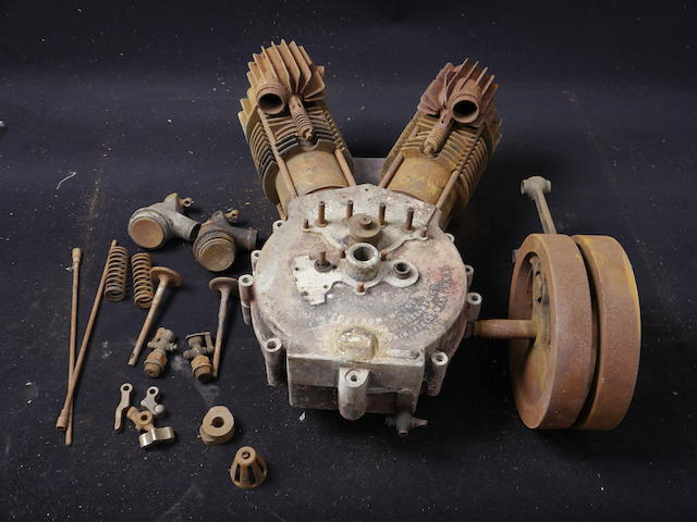 A largely complete but disassembled Indian Twin engine, serial number 74G199.