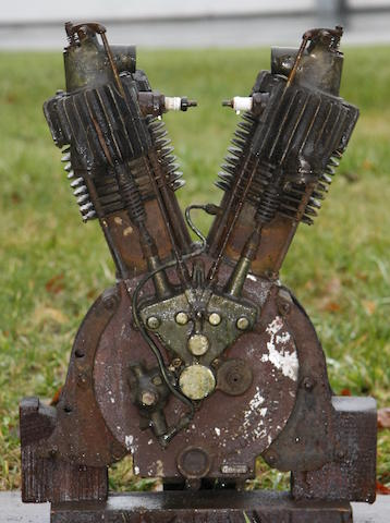 A 1912 Indian 7hp V-Twin engine,