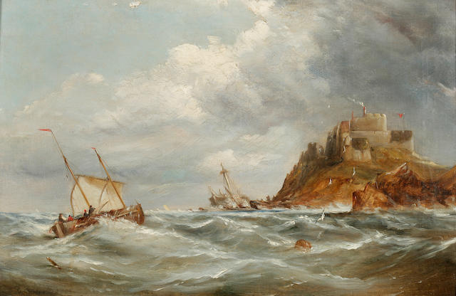 George William Crawford Chambers (British, 1830-died circa 1900) Shipping off a castle 13 x 19in