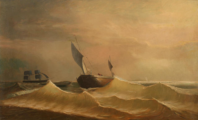 Attributed to Edward Percy Moran (American, 1862-1935) Grain Ship Approaching in a Rough Sea 22 x 36in