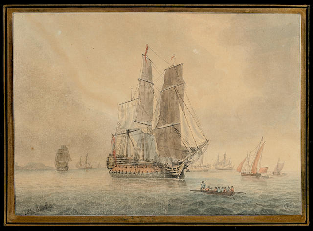 CLEVELEY, JOHN. c.1712-1777. Original sketch of a British 72-gun, 3rd rate ship of the line,