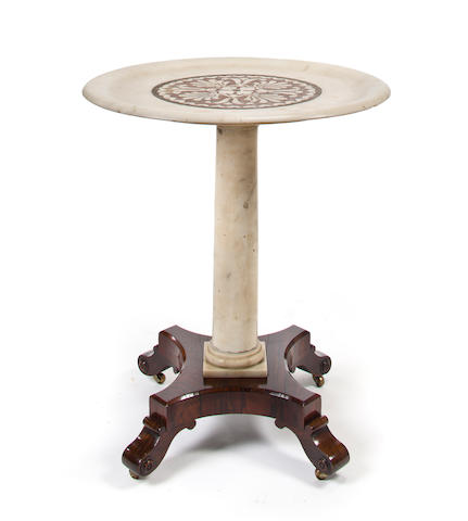 A Regency style rosewood and gilt marble occasional table early 19th century and later