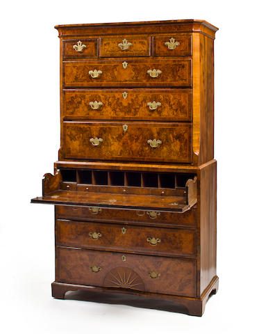A George II inlaid walnut secretary chest on chest second quarter 18th century