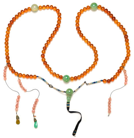 A jadeite glass and amber court necklace 19th Century