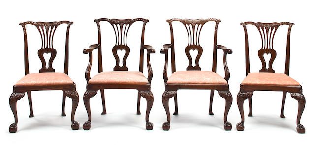 A set of eight George III style mahogany dining chairs second half 19th century