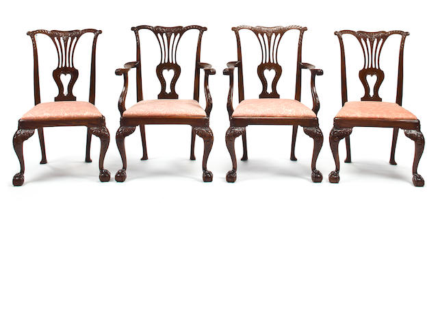 A set of eight Chippendale mahogany dining chairs, comprising two armchairs and six side chairs Second half 18th century