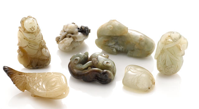 A group of seven nephrite carvings