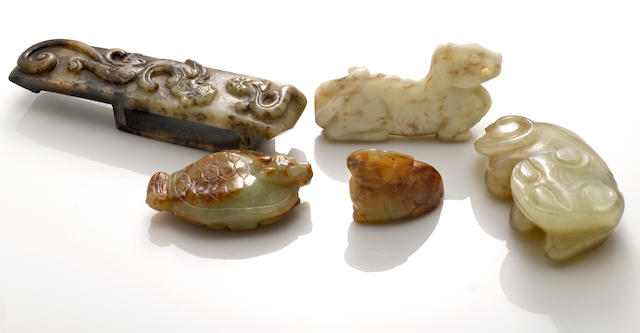 A group of five nephrite carvings