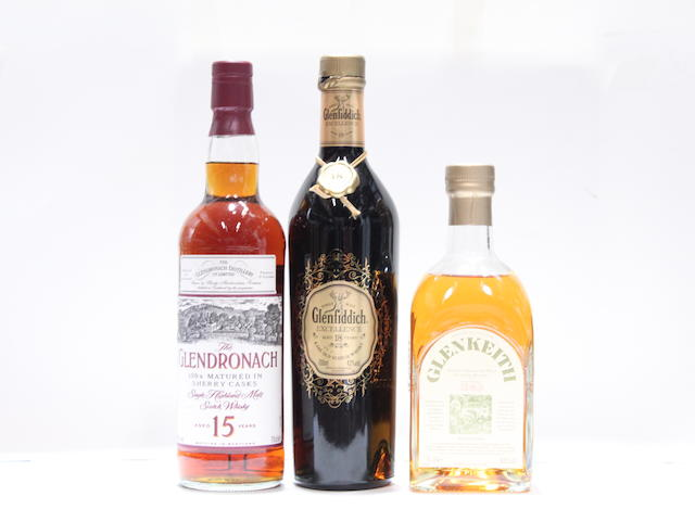Glen Keith-Pre 1983  Glendronach-15 year old  Glenfiddich Excellence-18 year old